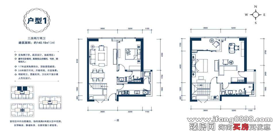 户型1三房两厅两卫约140.19㎡