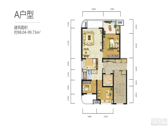2室2厅1卫约98㎡